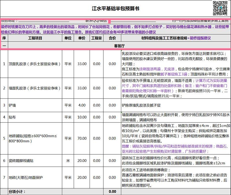 南京2018年装修报价,这样的装修报价连小学生也看得懂