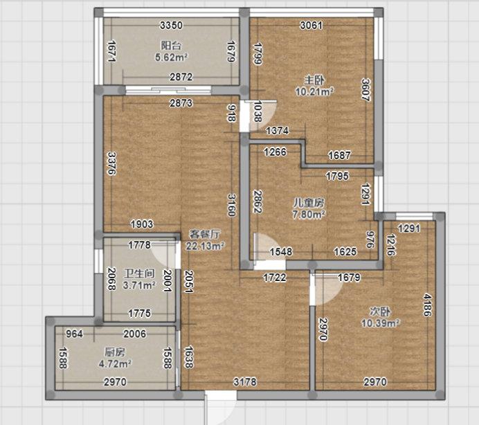 南京和昌湾景88平三居室,自己设计房子的效果