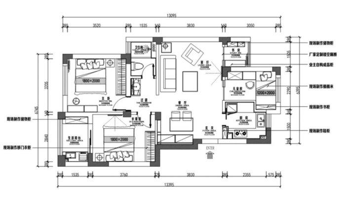 92平三居室装修设计,还能有个小书房,客厅的设计才最有想法