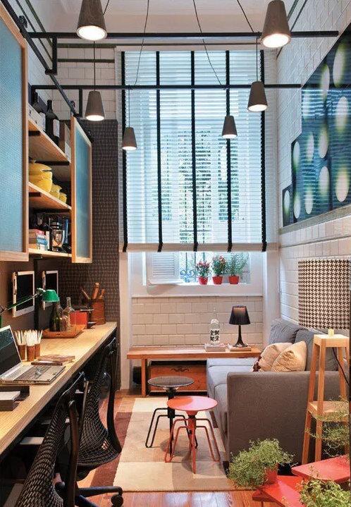 创意十足又实用的客厅装修,包括了餐厅、书房和卧室的功能!