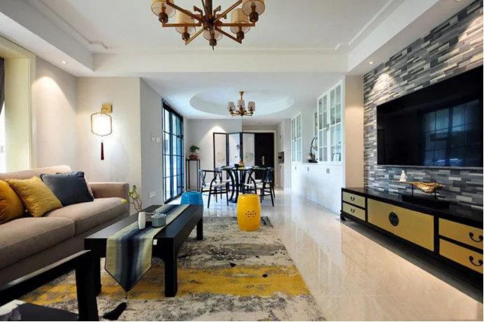 简约新中式装修效果图,120平的三居室,不负岁月静好